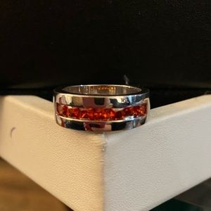 BN Sterling Silver Ring w/ Red Stones